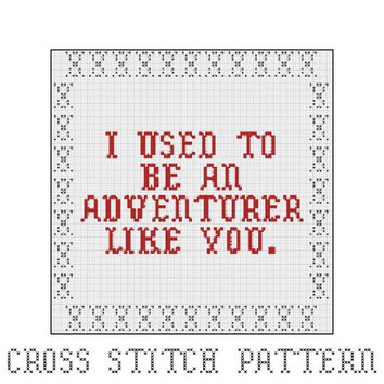 I Used To Be An Adventurer Like You, Arrow To The Knee, Cross Stitch Pattern, Elder Scrolls, Skyrim, Gaming, Video Games, Home Decor