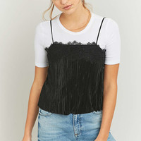 Pins & Needles Black Lace Pleated Cami - Urban Outfitters