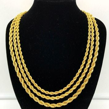 Luxury 24K Gold Filled Solid Twisted Chain Men Women Jewelry Fashion Punk Style 5MM 6MM 7MM Full Size for Your Choice