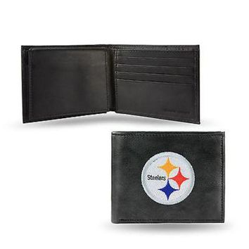 ONETOW Pittsburgh Steelers Wallet Premium Black LEATHER BillFold Embroidered Football
