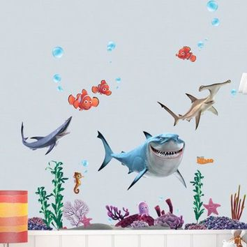 New FINDING NEMO Fish Seabed General Mobilization Cartoon Nemo Bathing Wall Stickers Decor Removable Vinyl Nursery Kids Room