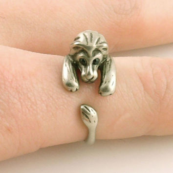 old silver cute lion ring elephant ring adjustable ring gift
