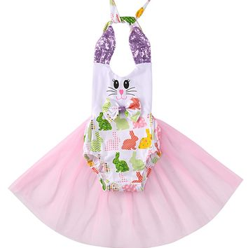 Cute Newborn Infant Baby Girls Sequined Tank Bunny Romper Tulle One-piece Sunsuit Clothes