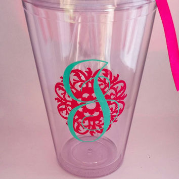 Personalized Acrylic Tumbler, Monogrammed travel cup, 16 oz clear tumbler with lid and straw, vinyl name decal, bpa free, Mother's day gift