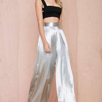 Solace London Stellis Wide-Leg Trouser - Silver