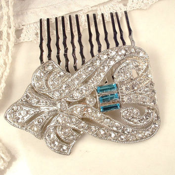 Art Deco Teal Aqua Blue & Clear Rhinestone Bridal Hair Comb, Vintage Pave Crystal Heirloom Fur Clip to Headpiece Great Gatsby Wedding Comb