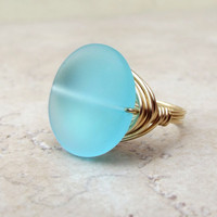 Turquoise Blue Sea Glass Ring:  Brass Wire Wrapped Beach Jewelry, Size 7, Resort Wear Accessory