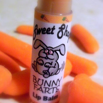Bunny Farts Lip Balm - One Tube Carrot Cake Flavored Soy Sweet Oil Olive Oil Aloe Vera