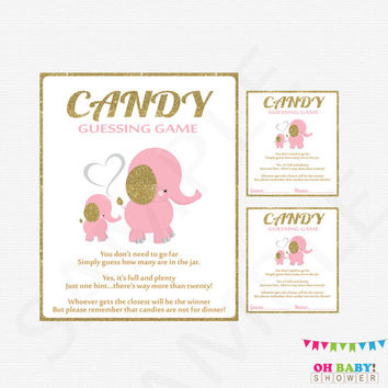 Girl Baby Shower Pink Elephant Pink and Gold Candy Guessing Game Printable Baby Shower Games Gold Glitter Pretty Baby Shower EL0004-LPG