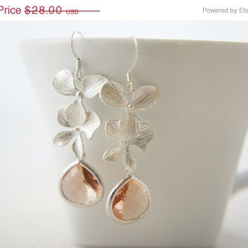 10% OFF Silver orchid earrings with peach pink color gem, wedding, bridesmaid, gift