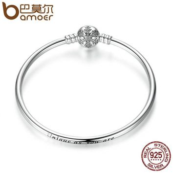 Sterling Silver Engrave Snowflake Clasp Unique as you are Snake Chain Bracelet & Bangle DIY