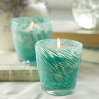 AQUA SPOTTED SCENTED CANDLE POT
