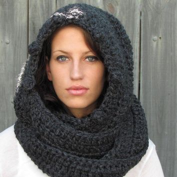 Hooded Scarf  Scoodie Messenger Scarf Long Wool Scarf - Charcoal Gray or Choose Your Color