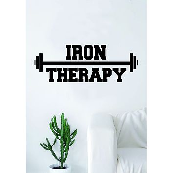 Iron Therapy Gym Quote Wall Decal Sticker Bedroom Living Room Art Vinyl Weights Work Out Gainz Health Fitness Running Lift