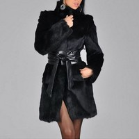 Fashion winter women faux fur cost long dress soft warm Mink fur feel long outwears