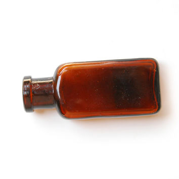 Vintage Antique Small Brown Amber Apothecary Bottle (Single) E1142 EL&CO