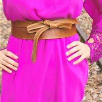 cognac wrap belt by southern fried chics