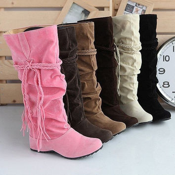 Womens Ladies Fashion Faux Suede Slouchy Boho Fringe Mid Calf Boots Shoes = 1945834756