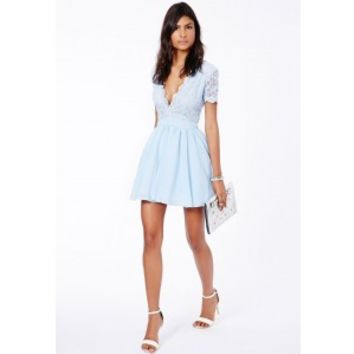 Aleena Lace Plunge Neck Puffball Dress Baby Blue - Missguided