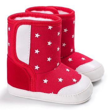 2017 New newborn winter Print Stars Baby Soft Sole Snow Boots Babies Shoes for infant Toddler Anti-slip Boots Booties