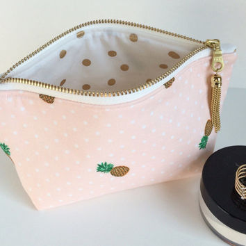 Pineapple Cosmetic Bag, Mini Cosmetic Bag, Pineapple Makeup Bag, Pink Makeup Bag, Pink Zipper Pouch, Small Makeup Bag