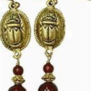 Egyptian Scarab Dangling Pierced Earrings  - 4496