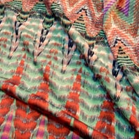 "Stylized Chevron Print ITY Knit Fabric, Polyester Lycra Blend, Salmon Seagreen 60"" Wide per Half Yard"
