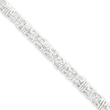 Mens 4mm Sterling Silver Fancy Solid Byzantine Chain Necklace, 20 Inch
