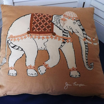 Jim Thompson Elephant Pillow Thailand Silk