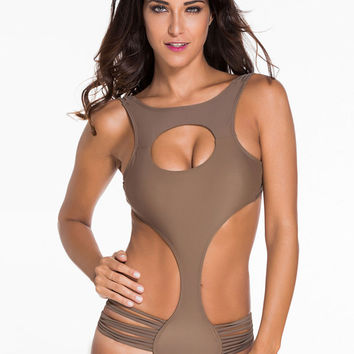 Brown Cut Out Strappy One-piece Swimsuit