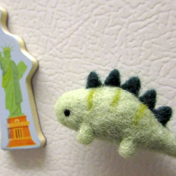 Needle Felted Stegosaurus Fridge Magnet, Dinosaur Magnet, Kitchen Decor, Felt animal magnet, Cute fridge magnet, Felt magnet, Dinosaur Decor
