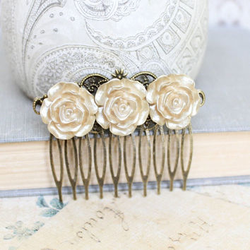 Gold Rose Hair Comb Bridal Hair Accessories Shabby Chic Wedding Romantic Floral Antique Gold Winter Wedding Vintage Style
