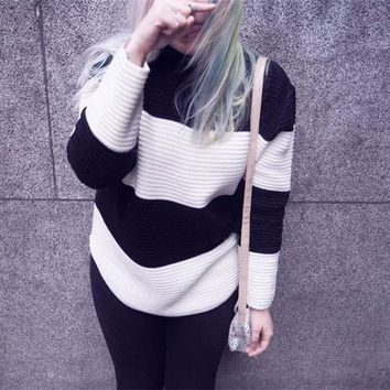 Fashion striped stand collar Pullovers Tops Sweater