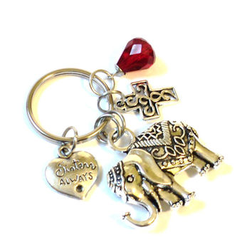 Sacred Elephant Keychain Sisters Always Best Friends Bestie Bag Charm Cross Yoga Party Favors Unique Stocking Stuffer Christmas Blue