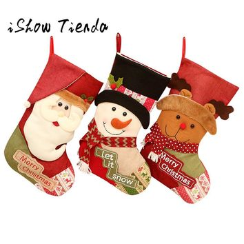 Christmas gifts Candy Beads Christmas Santa Claus Snowman Socks Decorations For Home Decoration #25