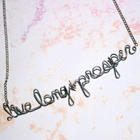 Live Long & Prosper Necklace Vulcan Star Trek Jewelry - Silver Wire Phrase