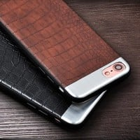 Case 7 Plus Ultra thin Leather Phone Cover Metal