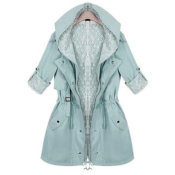 Women's lace trench coat 2017 new spring autumn fashion long sleeve slim waist casual medium-long hooded trench plus size S2407