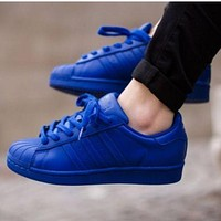 Adidas Shell-toe Sneakers Sport Shoes Pure Color Flats Blue