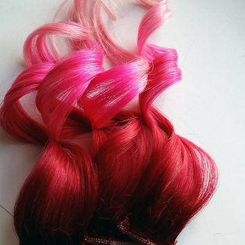 "Strawberry Dip 10"" - 22"" 100% Human Hair Ombre clip Dip Dye Extensions Red Pink & Pastel Pink Rainbow"