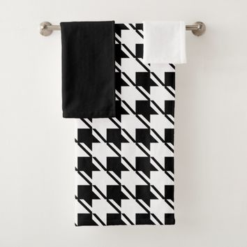 Black White Houndstooth Bath Towel Set
