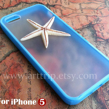 starfish iPhone 5 Case, sky blue iphone case, iphone 5 case, resin starfish