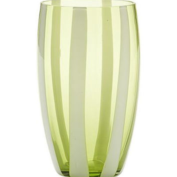 Gessato Beverage Glass S/2 | Apple Green