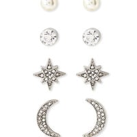 Crescent and Star Stud Set