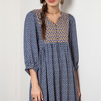 Boho Chevron Dress - Blue