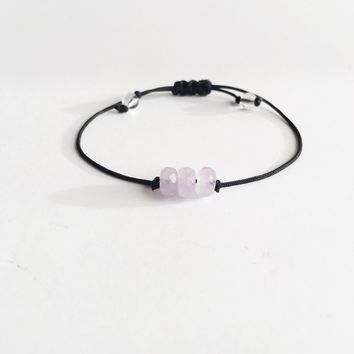 Cape Amethyst ~ Choose a String Color ~ Faceted Cape Amethyst Bracelet, Minimalist Bracelet, Custom Bracelet, Gemstone B