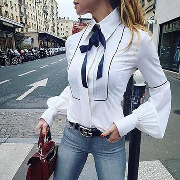 Bow Tie Blouse Women Lantern Sleeve White Tunic Button Down Shirts Elegant Top Winter Autumn Necktie