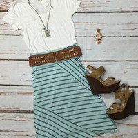 Mitzi Mid Length Skirt: Mint/Grey