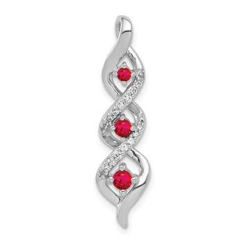 14k White Gold Diamond And .25ct Ruby Twisted Chain Slide Pendant