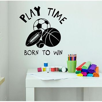 Vinyl Wall Decal Play Time Motivation Words Logo Children's Playroom Stickers (3278ig)